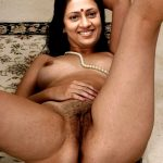 Lakshmy Ramakrishnan on the floor naked showing her hairy pussy