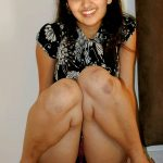 Sanusha naked thigh hairy pussy in black top without pants