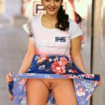 Mehrene Kaur Pirzada upskirt showing her pussy without panties