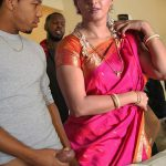 Anushka Shetty fan hand job his cock standing with Saree actress pic