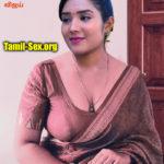 Senthoora Poove Serial actress low neck blouse Saree slip cleavage