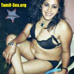 VJ Archana black bra semi nude  pose without dress fake