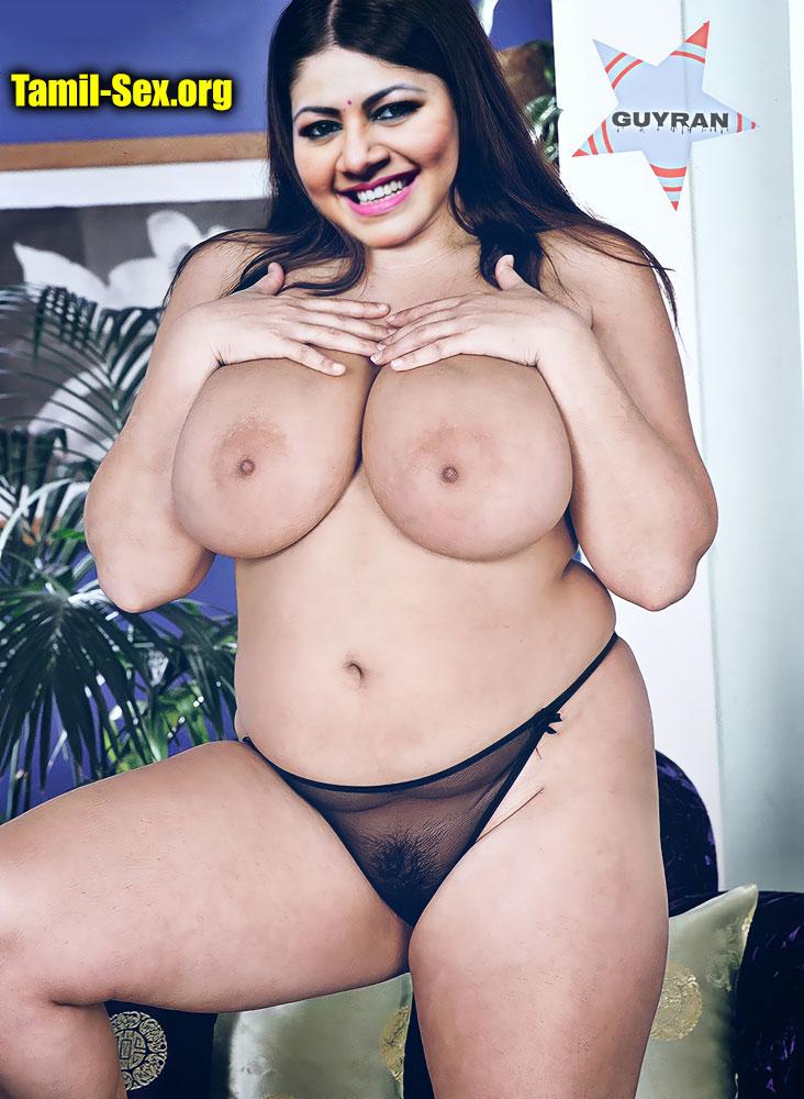 VJ Archana topless big boobs without bra transparent black panties fake
